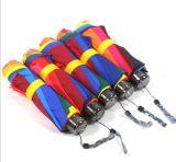 Señora portable promocional Cheap Straight Rainbow Umbrella de la protección ULTRAVIOLETA fuerte del doblez de la manera 3