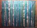 ハンドメイドの青い樺の木の景色のナイフの油絵