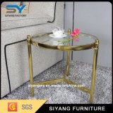 Europäisches Entwurfs-Luxuxgoldglastee-Seiten-Tisch