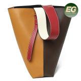 Nuove borse di Ladides del sacchetto di spalla del Tote di colore di contrasto del cuoio genuino di modo 2 formati sulla vendita Emg5176
