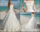 Vestido nupcial Appliqued W15249 do jardim da praia do vestido de casamento do Neckline do laço