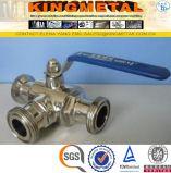 Commestibile d'acciaio di SUS304 Scf8 Tainless tre sanitari valvola a sfera di 3 modi