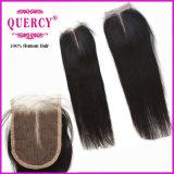 Chiusura indiana svizzera dei capelli umani del merletto 8A Remy diritto (CL-024)