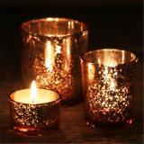 Гальванизируйте свечку держателя корабля искусствоа стеклянную для роскошного рождества