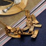 황금 도금된 XL127를 가진 기하학 줄무늬 능직물 Retro 목걸이