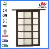 Portas deslizantes da porta de vidro do fechamento de porta da madeira contínua da venda