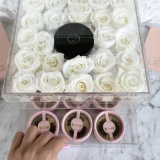 Caixa acrílica desobstruída quadrada personalizada de Rosa da flor com gaveta
