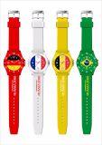 Reloj material del deporte del cuarzo de la pulsera de reloj de señoras del silicio de la taza de mundo