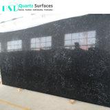 Laje de Pedra quartzo preto elegante com nervuras brancas para a bancada de cozinha