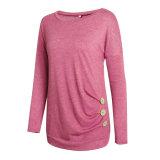 여자의 우연한 긴 소매 측 단추 블라우스 t-셔츠 Esg10442