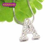 Charme en cristal d'alphabet de lettre de glissière faite sur commande en gros pour le bracelet (14910)