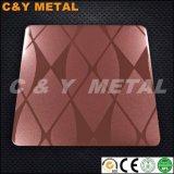 304 décorative avec miroir en acier inoxydable, Red-Wine Sand-Blast et