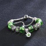 Joyería artificial verde de la pulsera ajustable de los granos de cristal del regalo DIY de la Navidad