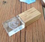 Mecanismo impulsor de madera del flash del USB del cristal del nuevo de la llegada regalo del OEM con la luz del LED