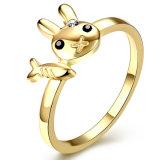 Ring van het Kristal van het Konijn van de Vissen van de manier de Goud Geplateerde voor Meisje