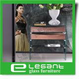 Изогнутая стеклянная таблица ночи с ящиками Veneer грецкого ореха деревянными