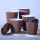 カスタムEco友好的で使い捨て可能なブラウンクラフトのさざ波のコーヒー紙コップ