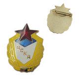 金属のニッケルのTherionのロゴの堅いエナメルの折りえりPin