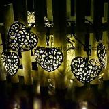 Decoración solar de 12 LED LED de luz de la cadena del corazón de la luz de la cadena con Energía Solar