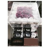 서랍을%s 가진 꽃 로즈 주문을 받아서 만들어진 정연한 명확한 아크릴 상자