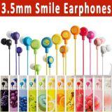 Cadeaux colorés d'écouteur de sourire d'Earbuds de couleur promotionnelle de fruit pour le téléphone mobile de MP3 MP4 PSP