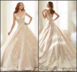 Le lacet nuptiale de robe de bille de chemises de chapeau Appliqued rougissent la robe de mariage A156