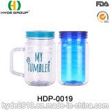 Bestes verkaufendes doppel-wandiges Plastikmaurer-Glas mit Strohen