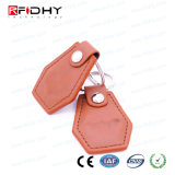 Custom Printed Logo 125kHz Access Control Leather Keyfob