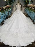 O vestido de casamento real/Sleeve por muito tempo a noiva Gown/2017 na moda nupcial