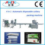 Cubiertos de plástico de alta velocidad de la máquina de embalaje con alimentador automático