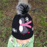 Детей Детский Детский трикотажные снег зимой теплый Beanie вышивкой пингвинов (HW637)