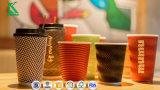 12oz Ondulation de tasse de café en papier jetables avec couvercles