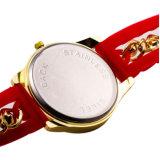 Montre-bracelet matérielle de mode de silicium de caisse d'acier inoxydable pour des dames
