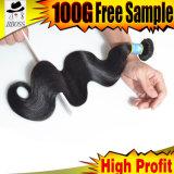 100 % organisme brésilien vague cheveu humain, extension de cheveux