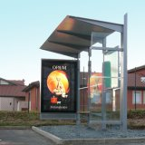 Cobertizo al aire libre, haciendo publicidad de la parada de omnibus con la pantalla del LED