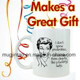 11oz de Stijl van de Vrouwen van het Embleem van het Overdrukplaatje van de Mok van de Koffie van het porselein