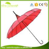 주문 로고 인쇄 자주색 16 늑골 점 손질 Pagoda 우산