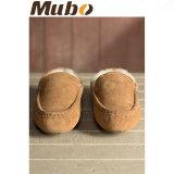 Chaussures d'intérieur de maison de loisirs de poussoirs de basane réelle pour les hommes