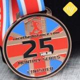 Medaglie molli di attività di maratona dello smalto del ricordo di onore militare su ordinazione del metallo