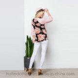 숙녀 형식 의류 대조 Raglan 소매 꽃 t-셔츠