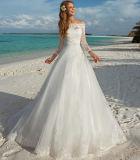 Мантия W15249 сада пляжа платья венчания Neckline шнурка Appliqued Bridal