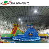 Parque inflable gigante con la diapositiva, parque al aire libre del agua de la piscina del agua de la diversión