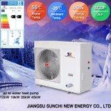 Amb. Calentador de agua frío de Evi de la pompa de calor del inversor de la C.C. de la agua caliente del enchufe 90c de la calefacción del radiador del invierno de -20c