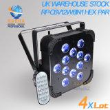Rasha 영국 창고 휴일 동안 비과세 12*18W 무선 LED 편평한 PAR64 가벼운 Rgbaw UV LED 호리호리한 동위 영사기
