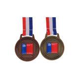 2017 Commerce de gros de haute qualité Sports Glitter Médaille personnalisé avec ruban