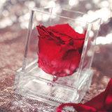 ボックスによってカスタマイズされるロゴのバレンタインデー3のプレキシガラスのローズアクリルの明確な正方形のローズの立方体のボックス