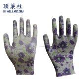 Le polyester de la fleur des femmes a coloré des gants de travail de nitriles avec du ce