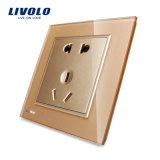 Plot de pouvoir électrique BRITANNIQUE de chevilles du mur 5 de Livolo Vl-W2c1d-11/12/13