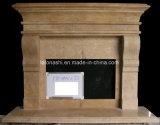 屋内マントルピースのために切り分けることを用いるブラウンの石造りの大理石の暖炉