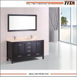 Vanità di legno solida calda della stanza da bagno del nuovo prodotto con il controsoffitto di marmo